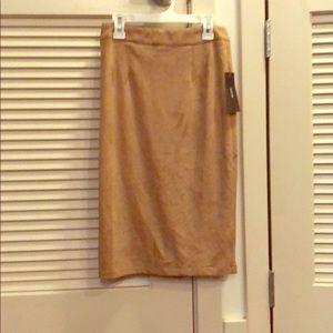 Lulus tan suede pencil skirt